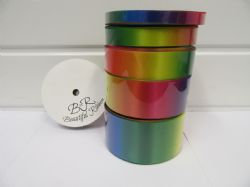 2 metres or 25m Full Roll 10mm 15mm 25mm 38mm 50mm Dark Rainbow Unicorn Satin Ribbon Foil Gradient